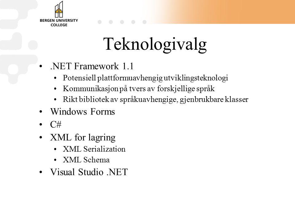 Teknologivalg.NET Framework 1.1 Potensiell plattformuavhengig utviklingsteknologi Kommunikasjon på tvers av forskjellige språk Rikt bibliotek av språkuavhengige, gjenbrukbare klasser Windows Forms C# XML for lagring XML Serialization XML Schema Visual Studio.NET