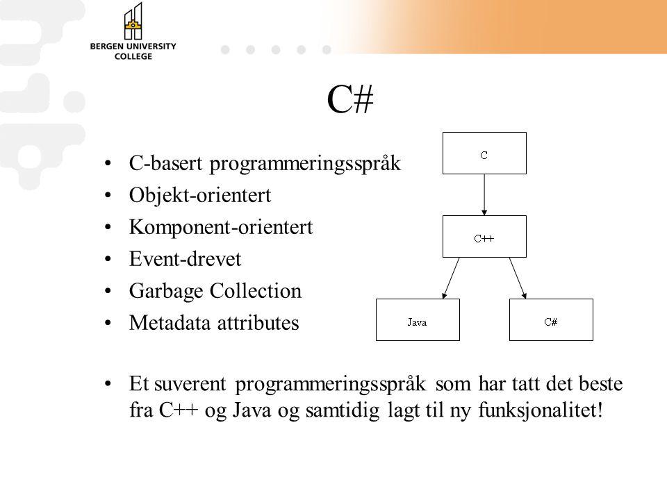 C# C-basert programmeringsspråk Objekt-orientert Komponent-orientert Event-drevet Garbage Collection Metadata attributes Et suverent programmeringsspråk som har tatt det beste fra C++ og Java og samtidig lagt til ny funksjonalitet!