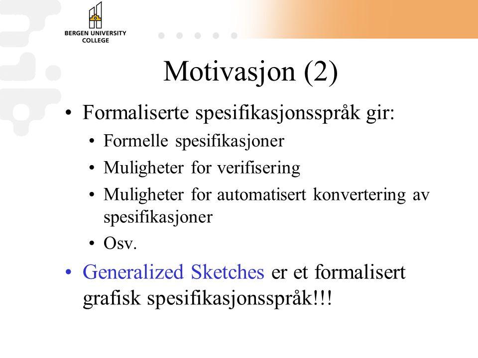 Motivasjon (2) Formaliserte spesifikasjonsspråk gir: Formelle spesifikasjoner Muligheter for verifisering Muligheter for automatisert konvertering av spesifikasjoner Osv.