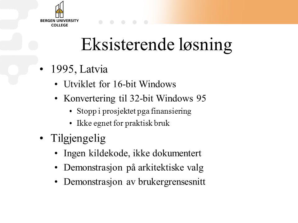 Eksisterende løsning 1995, Latvia Utviklet for 16-bit Windows Konvertering til 32-bit Windows 95 Stopp i prosjektet pga finansiering Ikke egnet for praktisk bruk Tilgjengelig Ingen kildekode, ikke dokumentert Demonstrasjon på arkitektiske valg Demonstrasjon av brukergrensesnitt