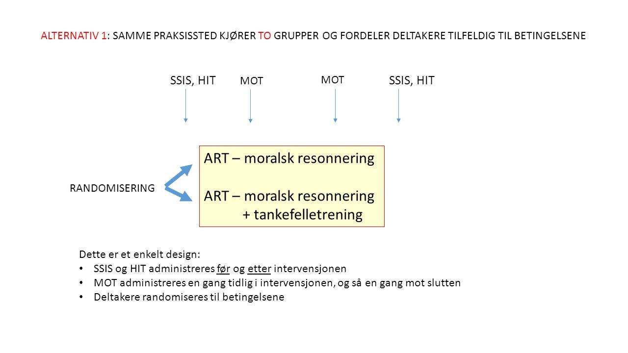ART – moralsk resonnering + tankefelletrening ALTERNATIV 1: SAMME PRAKSISSTED KJØRER TO GRUPPER OG FORDELER DELTAKERE TILFELDIG TIL BETINGELSENE RANDOMISERING SSIS, HIT MOT Dette er et enkelt design: SSIS og HIT administreres før og etter intervensjonen MOT administreres en gang tidlig i intervensjonen, og så en gang mot slutten Deltakere randomiseres til betingelsene