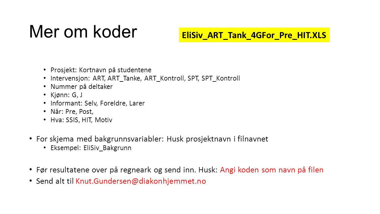 Mer om koder Prosjekt: Kortnavn på studentene Intervensjon: ART, ART_Tanke, ART_Kontroll, SPT, SPT_Kontroll Nummer på deltaker Kjønn: G, J Informant: Selv, Foreldre, Larer Når: Pre, Post, Hva: SSIS, HIT, Motiv For skjema med bakgrunnsvariabler: Husk prosjektnavn i filnavnet Eksempel: EliSiv_Bakgrunn Før resultatene over på regneark og send inn.