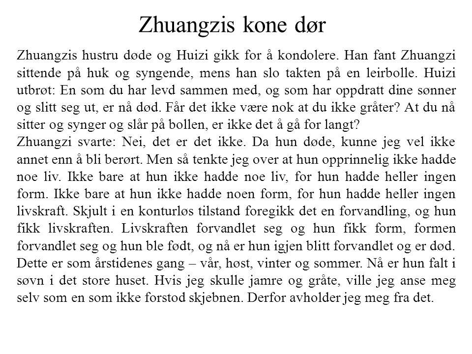 Zhuangzis kone dør Zhuangzis hustru døde og Huizi gikk for å kondolere. Han fant Zhuangzi sittende på huk og syngende, mens han slo takten på en leirb