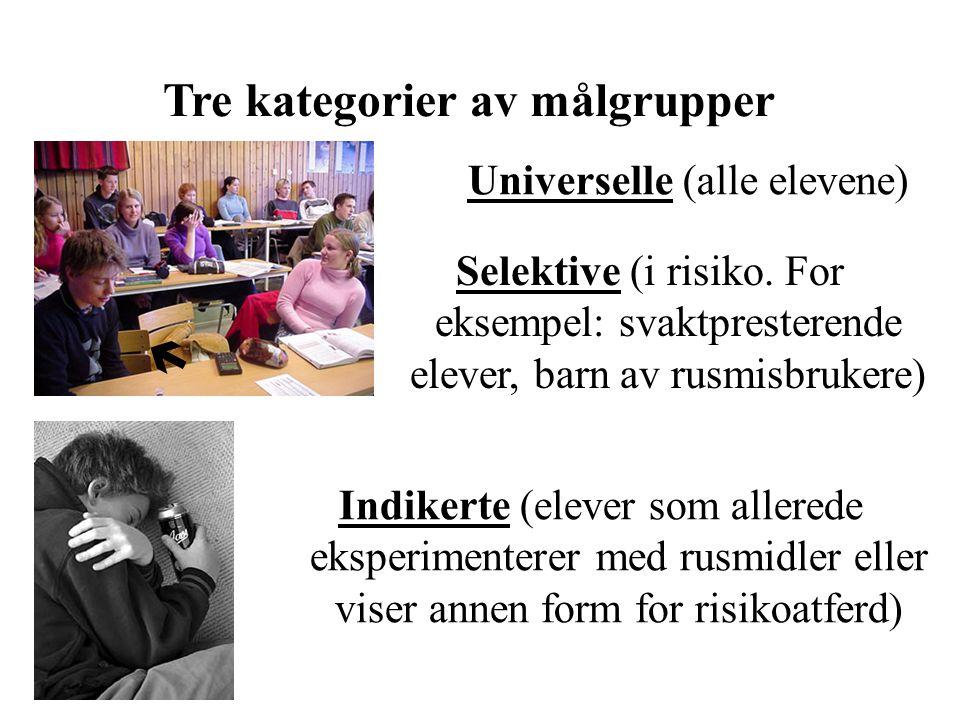 Tre kategorier av målgrupper Indikerte (elever som allerede eksperimenterer med rusmidler eller viser annen form for risikoatferd) Universelle (alle e