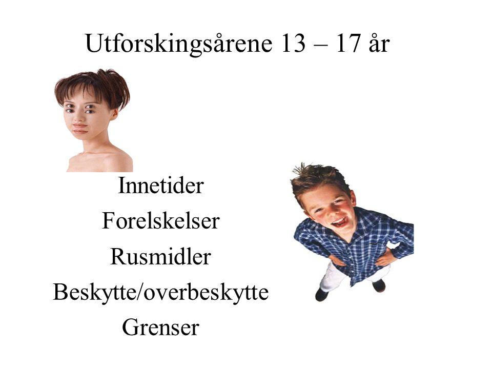Utforskingsårene 13 – 17 år Innetider Forelskelser Rusmidler Beskytte/overbeskytte Grenser