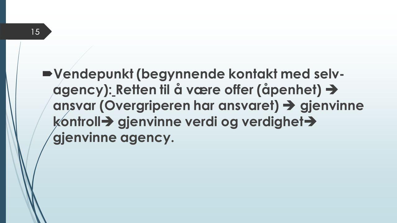  Vendepunkt (begynnende kontakt med selv- agency): Retten til å være offer (åpenhet)  ansvar (Overgriperen har ansvaret)  gjenvinne kontroll  gjenvinne verdi og verdighet  gjenvinne agency.
