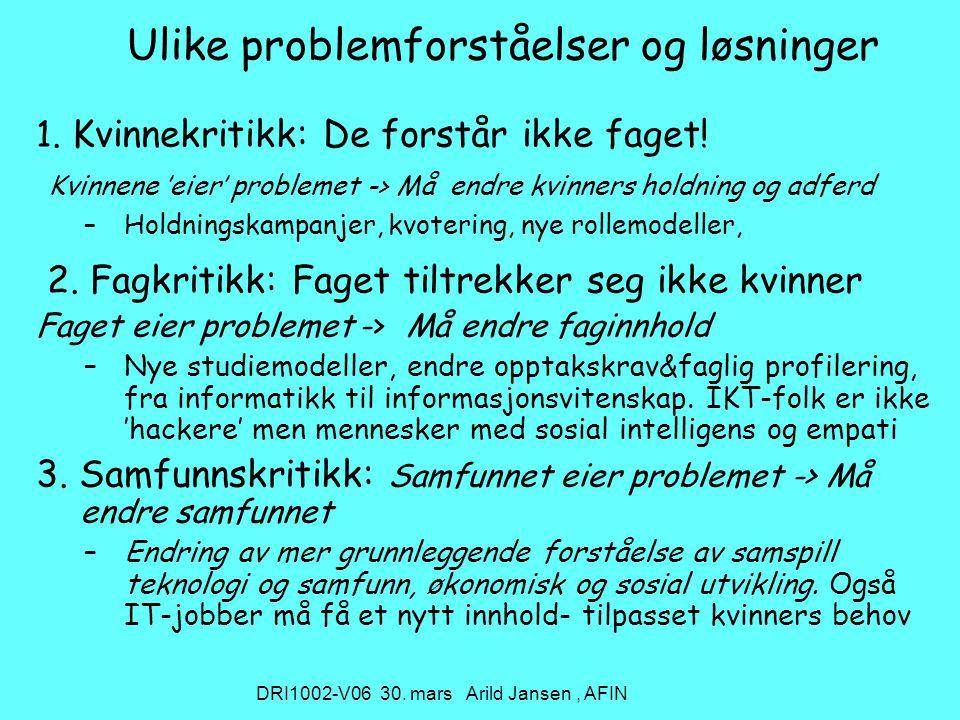 DRI1002-V06 30. mars Arild Jansen, AFIN Ulike problemforståelser og løsninger 1.