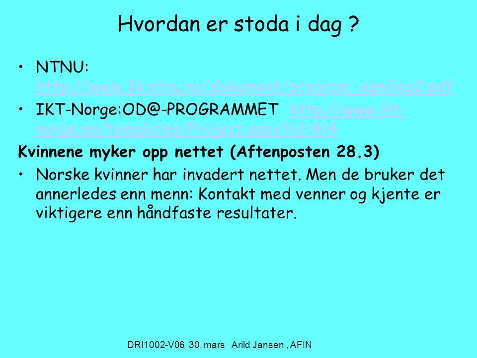 DRI1002-V06 30. mars Arild Jansen, AFIN Hvordan er stoda i dag .