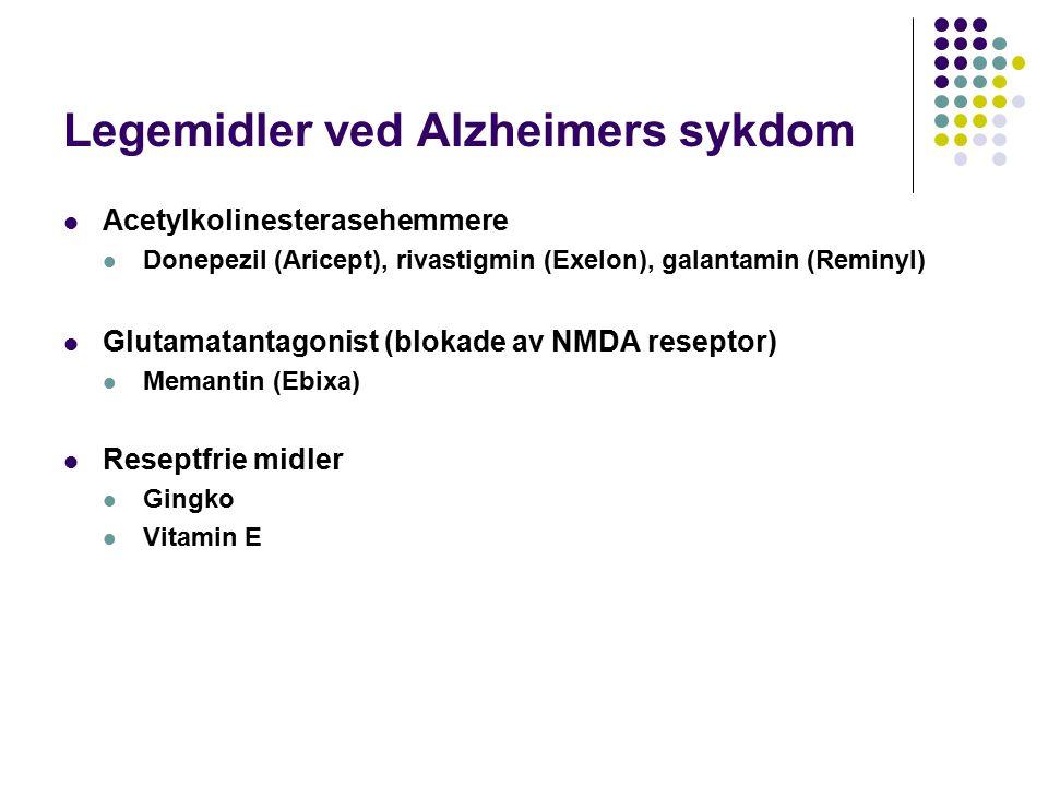 Legemidler ved Alzheimers sykdom Acetylkolinesterasehemmere Donepezil (Aricept), rivastigmin (Exelon), galantamin (Reminyl) Glutamatantagonist (blokade av NMDA reseptor) Memantin (Ebixa) Reseptfrie midler Gingko Vitamin E