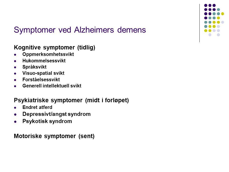 Pasientene - Alzheimers sykdom Hvor ren diagnose, dvs uten CVS Hvor godt fungerende Grad av demens Symptomer Forståelse av deltagelsen Tillegg av somatisk sykdom.