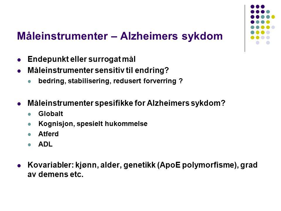 Måleinstrumenter – Alzheimers sykdom Endepunkt eller surrogat mål Måleinstrumenter sensitiv til endring.