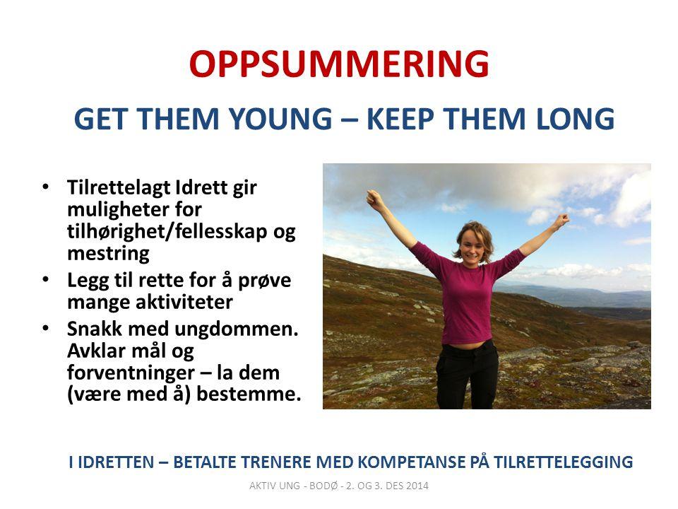 OPPSUMMERING Tilrettelagt Idrett gir muligheter for tilhørighet/fellesskap og mestring Legg til rette for å prøve mange aktiviteter Snakk med ungdommen.