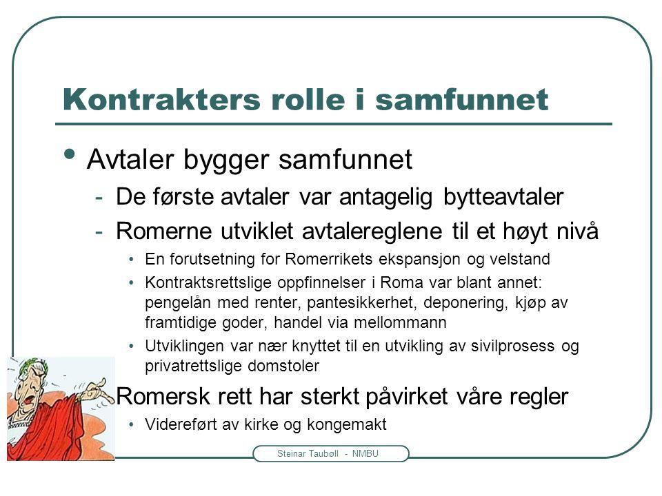 Steinar Taubøll - NMBU Kontrakters rolle i samfunnet Avtaler bygger samfunnet -De første avtaler var antagelig bytteavtaler -Romerne utviklet avtalere