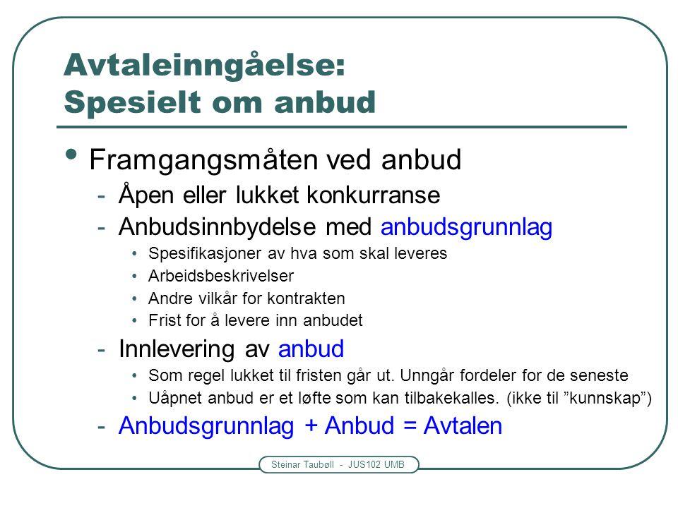 Steinar Taubøll - JUS102 UMB Avtaleinngåelse: Spesielt om anbud Framgangsmåten ved anbud -Åpen eller lukket konkurranse -Anbudsinnbydelse med anbudsgr