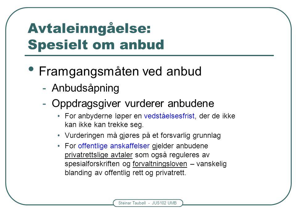 Steinar Taubøll - JUS102 UMB Avtaleinngåelse: Spesielt om anbud Framgangsmåten ved anbud -Anbudsåpning -Oppdragsgiver vurderer anbudene For anbyderne
