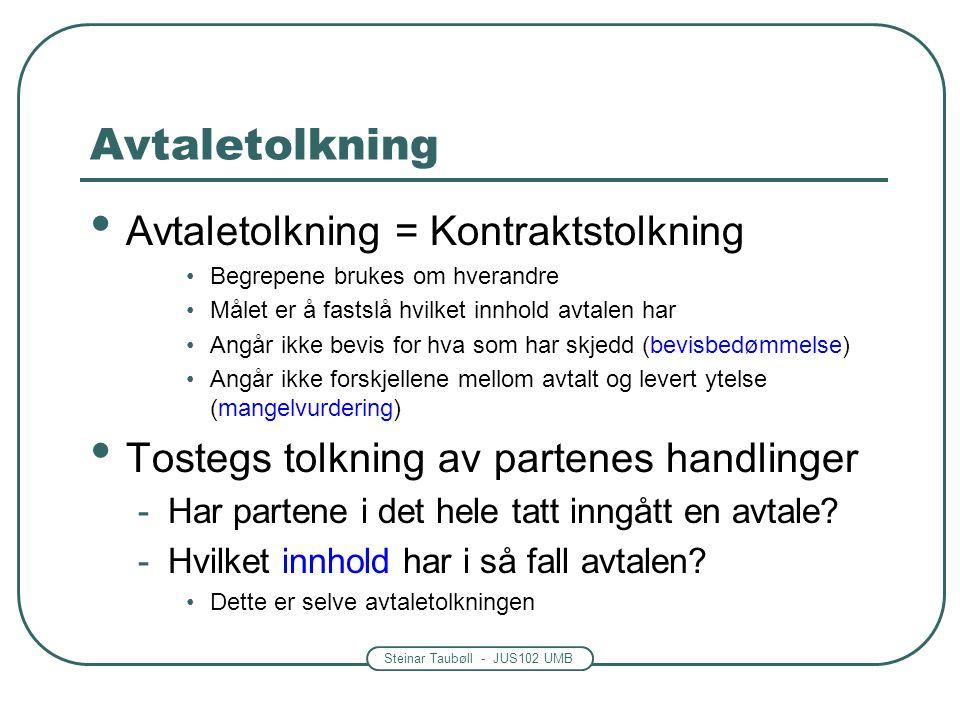 Steinar Taubøll - JUS102 UMB Avtaletolkning Avtaletolkning = Kontraktstolkning Begrepene brukes om hverandre Målet er å fastslå hvilket innhold avtale