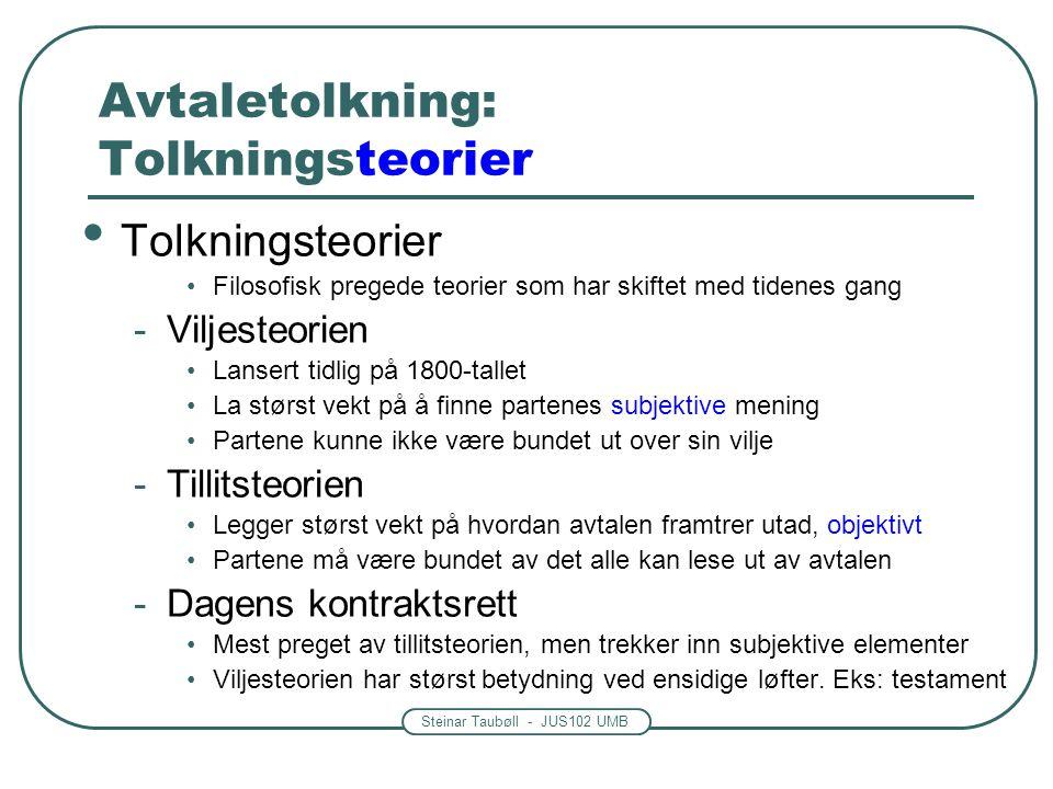 Steinar Taubøll - JUS102 UMB Avtaletolkning: Tolkningsteorier Tolkningsteorier Filosofisk pregede teorier som har skiftet med tidenes gang -Viljesteor