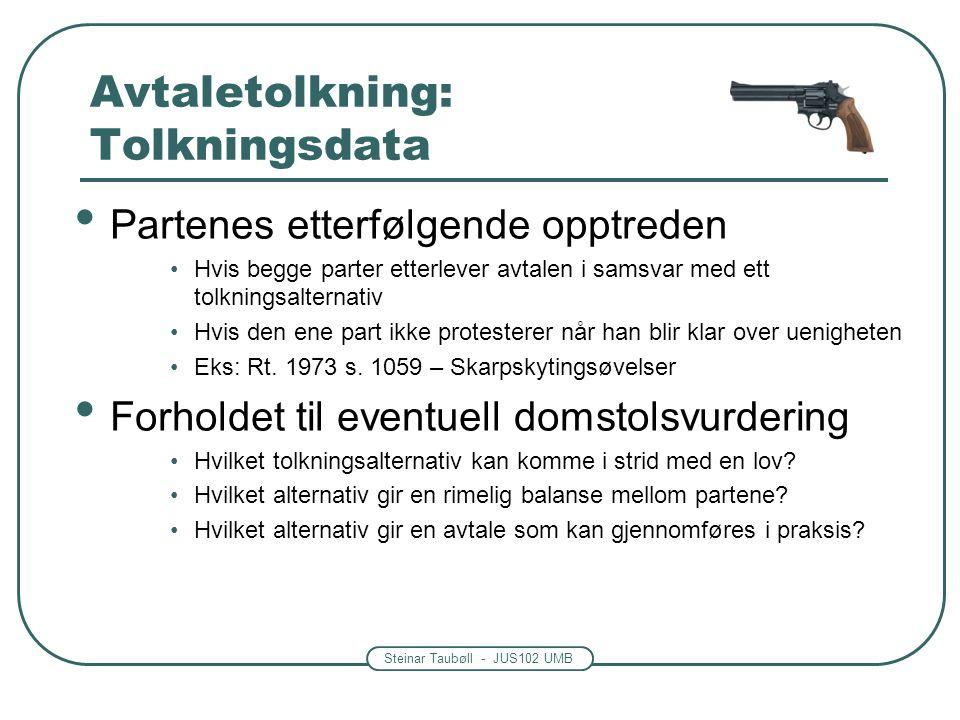 Steinar Taubøll - JUS102 UMB Avtaletolkning: Tolkningsdata Partenes etterfølgende opptreden Hvis begge parter etterlever avtalen i samsvar med ett tol