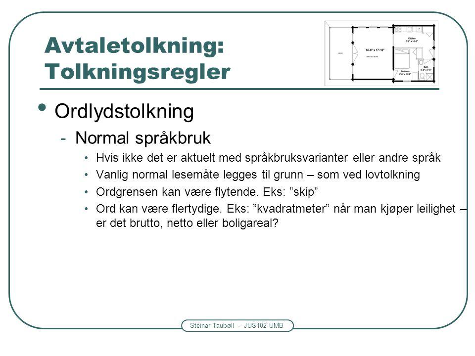 Steinar Taubøll - JUS102 UMB Avtaletolkning: Tolkningsregler Ordlydstolkning -Normal språkbruk Hvis ikke det er aktuelt med språkbruksvarianter eller