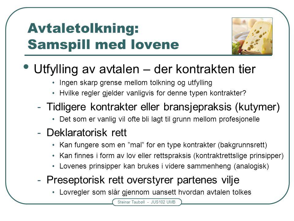Steinar Taubøll - JUS102 UMB Avtaletolkning: Samspill med lovene Utfylling av avtalen – der kontrakten tier Ingen skarp grense mellom tolkning og utfy