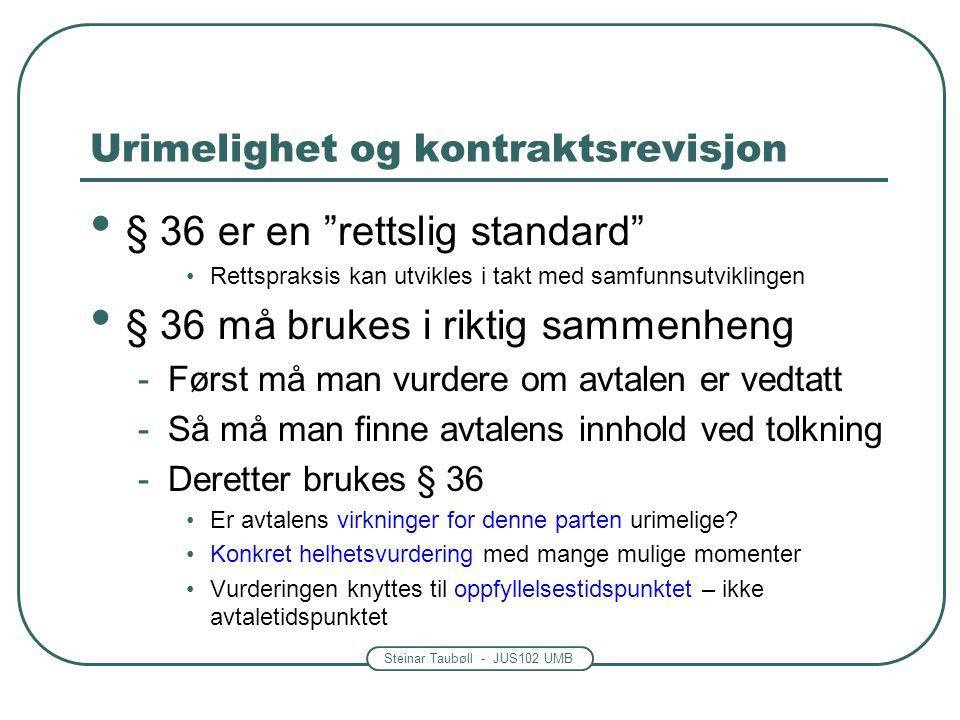 """Steinar Taubøll - JUS102 UMB Urimelighet og kontraktsrevisjon § 36 er en """"rettslig standard"""" Rettspraksis kan utvikles i takt med samfunnsutviklingen"""