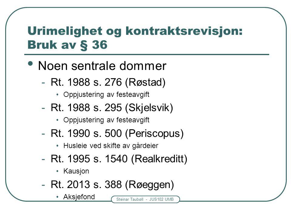 Steinar Taubøll - JUS102 UMB Urimelighet og kontraktsrevisjon: Bruk av § 36 Noen sentrale dommer -Rt. 1988 s. 276 (Røstad) Oppjustering av festeavgift