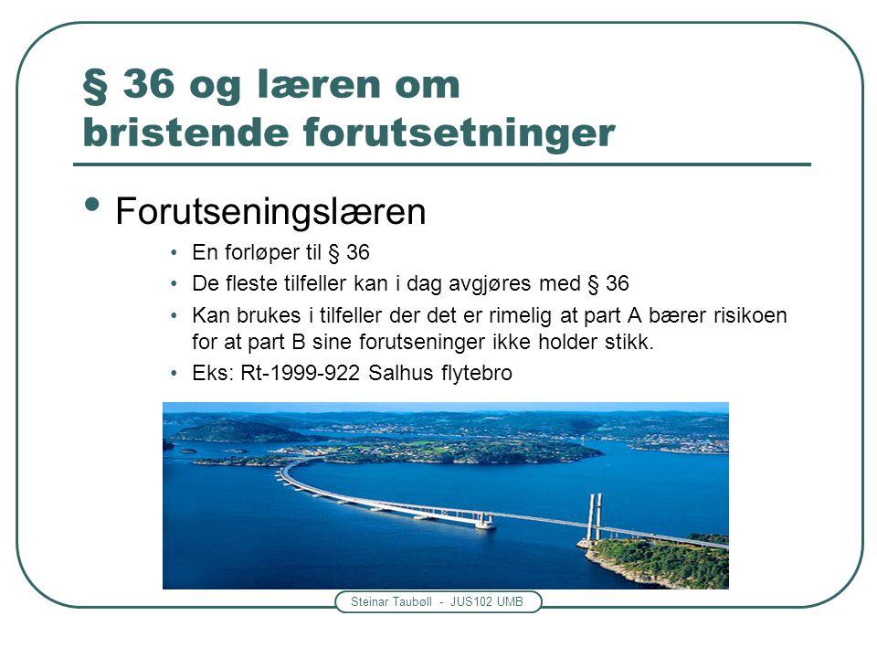 Steinar Taubøll - JUS102 UMB § 36 og læren om bristende forutsetninger Forutseningslæren En forløper til § 36 De fleste tilfeller kan i dag avgjøres m