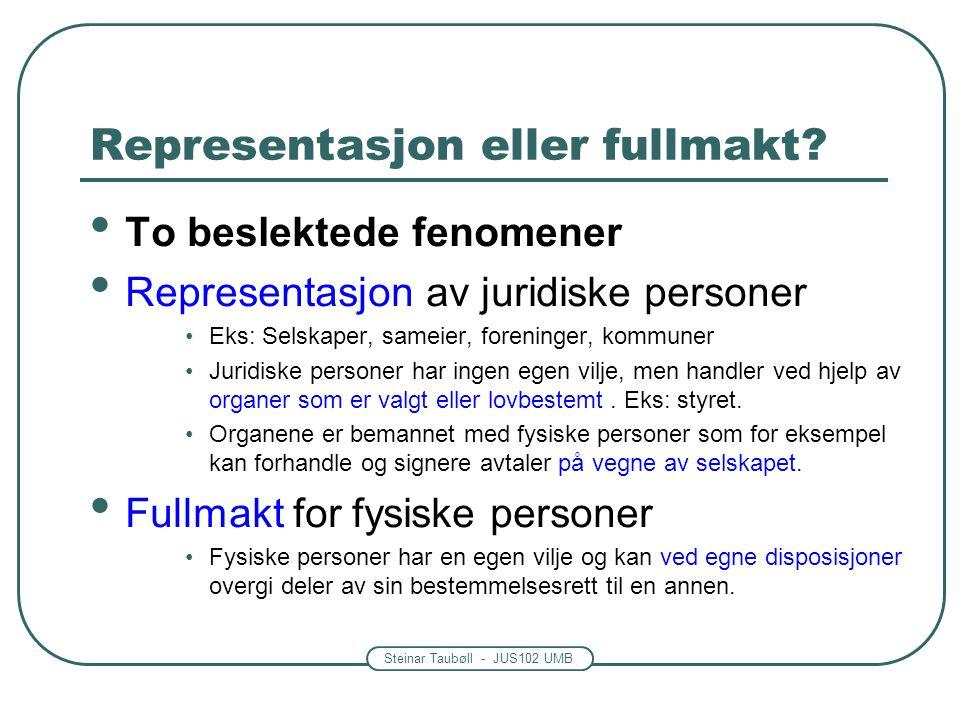 Steinar Taubøll - JUS102 UMB Representasjon eller fullmakt? To beslektede fenomener Representasjon av juridiske personer Eks: Selskaper, sameier, fore