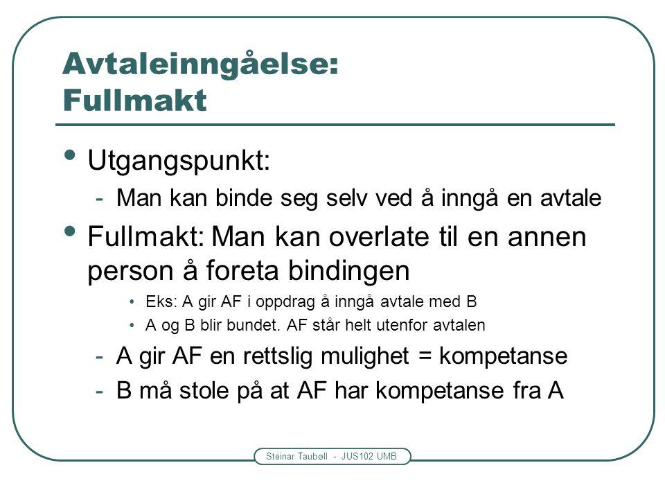 Steinar Taubøll - JUS102 UMB Avtaleinngåelse: Fullmakt Utgangspunkt: -Man kan binde seg selv ved å inngå en avtale Fullmakt: Man kan overlate til en a