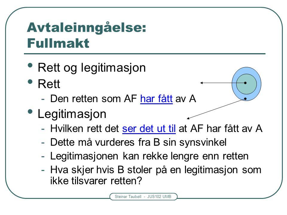Steinar Taubøll - JUS102 UMB Avtaleinngåelse: Fullmakt Rett og legitimasjon Rett -Den retten som AF har fått av A Legitimasjon -Hvilken rett det ser d