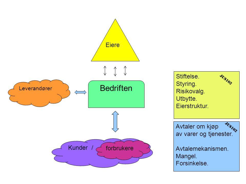 Bedriften Leverandører Kunder / forbrukere Eiere Avtaler om kjøp av varer og tjenester.