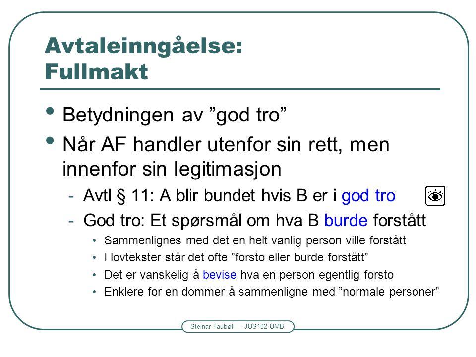"""Steinar Taubøll - JUS102 UMB Avtaleinngåelse: Fullmakt Betydningen av """"god tro"""" Når AF handler utenfor sin rett, men innenfor sin legitimasjon -Avtl §"""