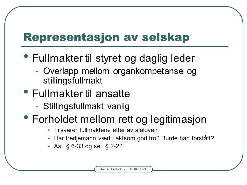 Steinar Taubøll - JUS102 UMB Representasjon av selskap Fullmakter til styret og daglig leder -Overlapp mellom organkompetanse og stillingsfullmakt Ful