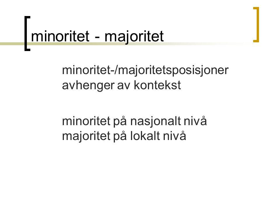 minoritet - majoritet minoritet-/majoritetsposisjoner avhenger av kontekst minoritet på nasjonalt nivå majoritet på lokalt nivå