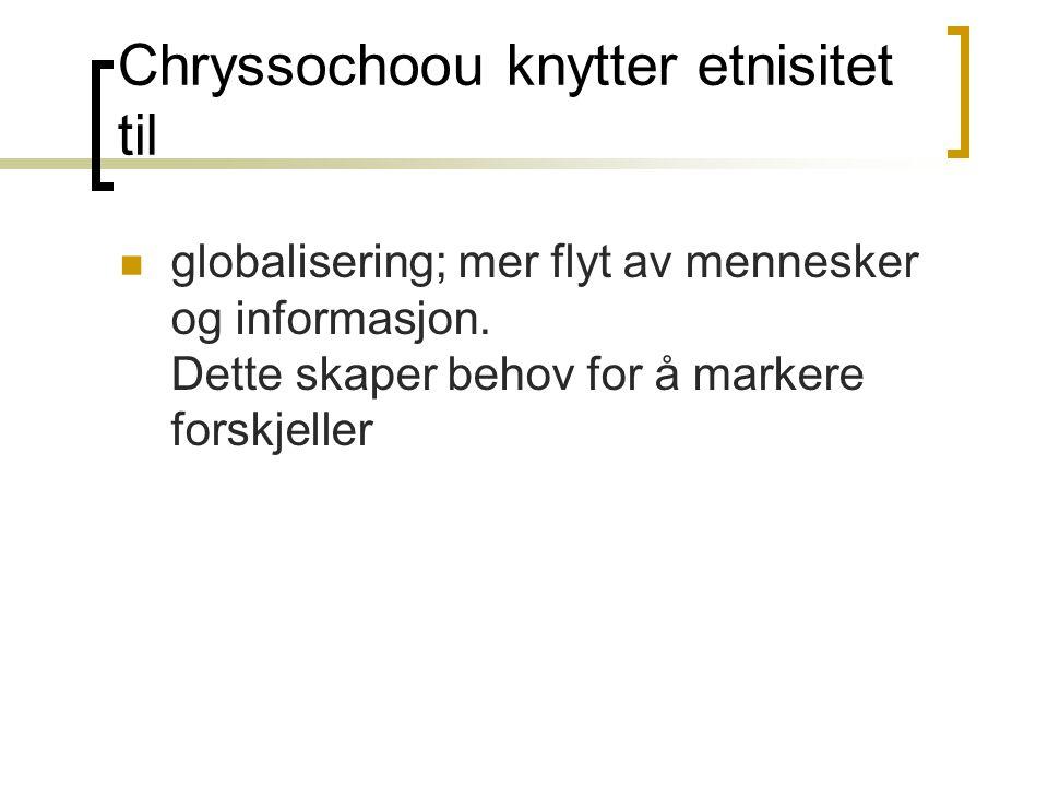 Chryssochoou knytter etnisitet til globalisering; mer flyt av mennesker og informasjon.