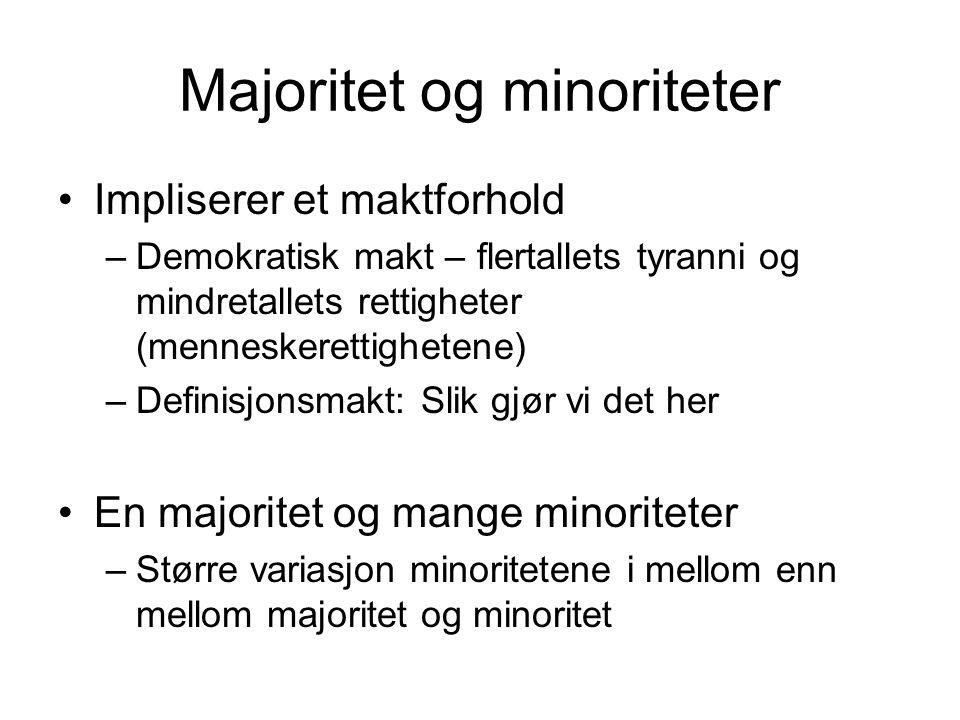 Majoritet og minoriteter Impliserer et maktforhold –Demokratisk makt – flertallets tyranni og mindretallets rettigheter (menneskerettighetene) –Defini