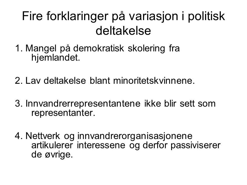 Fire forklaringer på variasjon i politisk deltakelse 1. Mangel på demokratisk skolering fra hjemlandet. 2. Lav deltakelse blant minoritetskvinnene. 3.