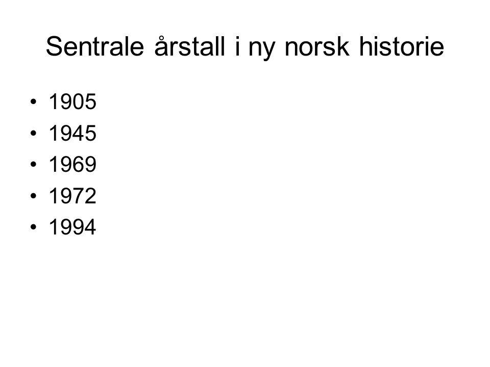 Sentrale årstall i ny norsk historie 1905 1945 1969 1972 1994
