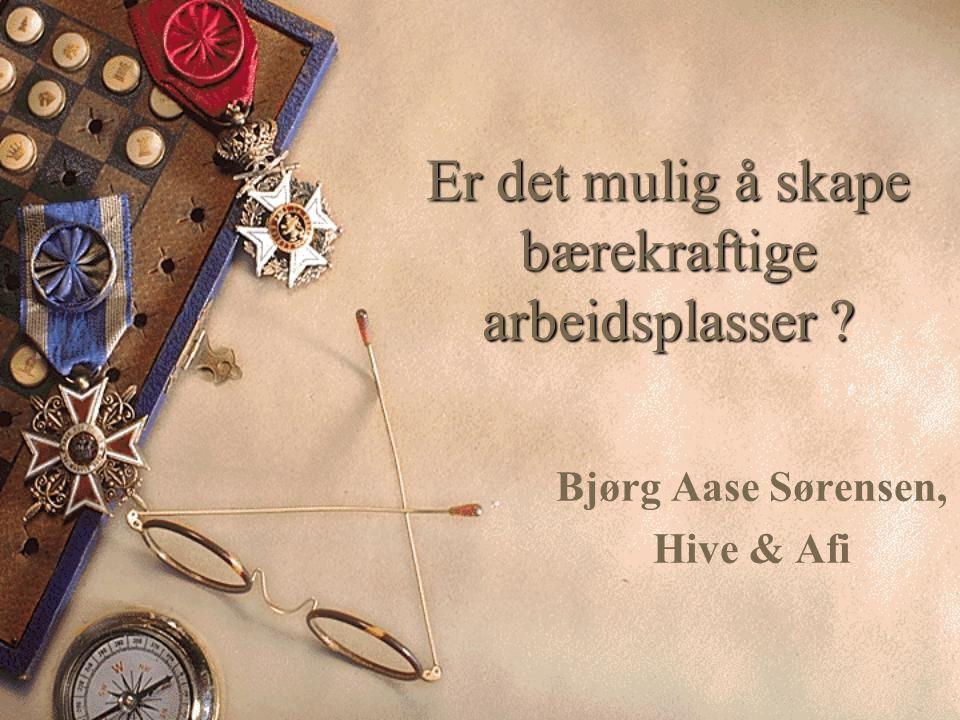 Er det mulig å skape bærekraftige arbeidsplasser Bjørg Aase Sørensen, Hive & Afi