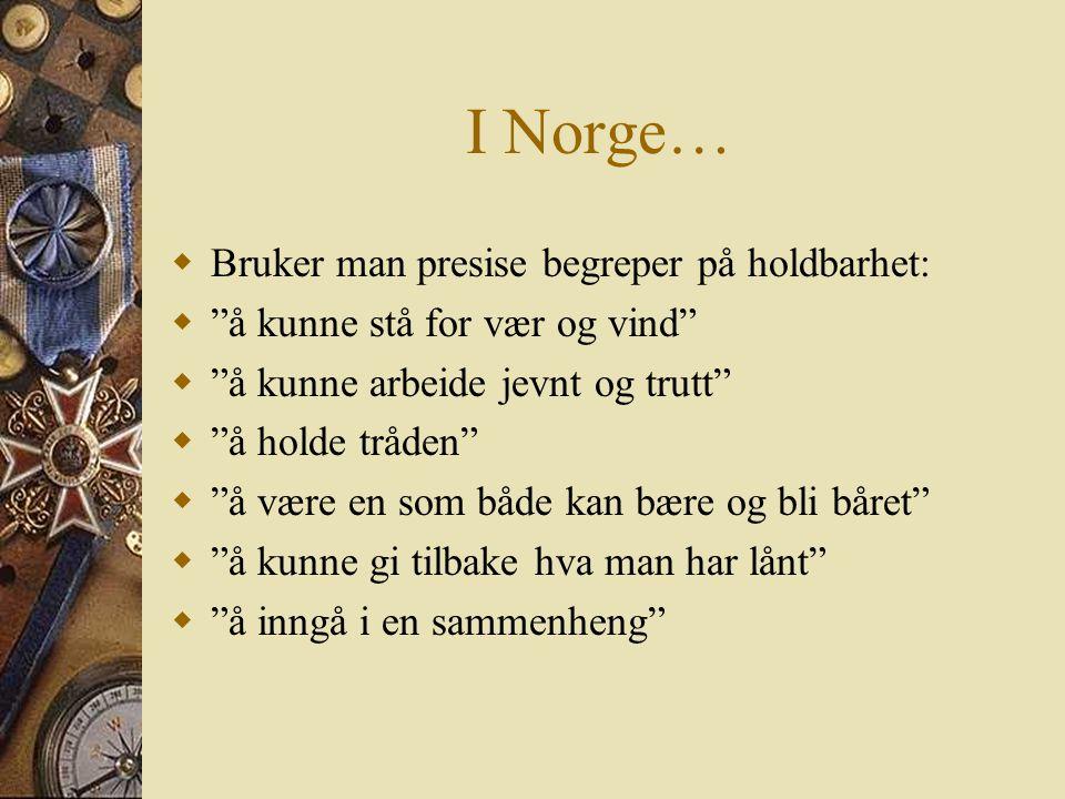 I Norge…  Bruker man presise begreper på holdbarhet:  å kunne stå for vær og vind  å kunne arbeide jevnt og trutt  å holde tråden  å være en som både kan bære og bli båret  å kunne gi tilbake hva man har lånt  å inngå i en sammenheng