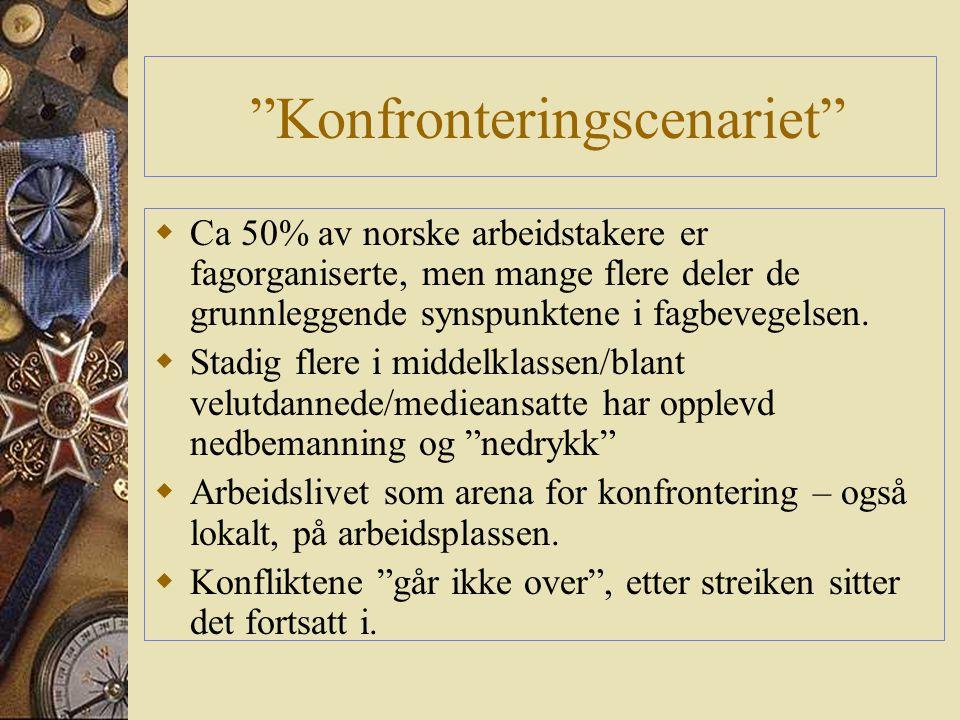 Konfronteringscenariet  Ca 50% av norske arbeidstakere er fagorganiserte, men mange flere deler de grunnleggende synspunktene i fagbevegelsen.