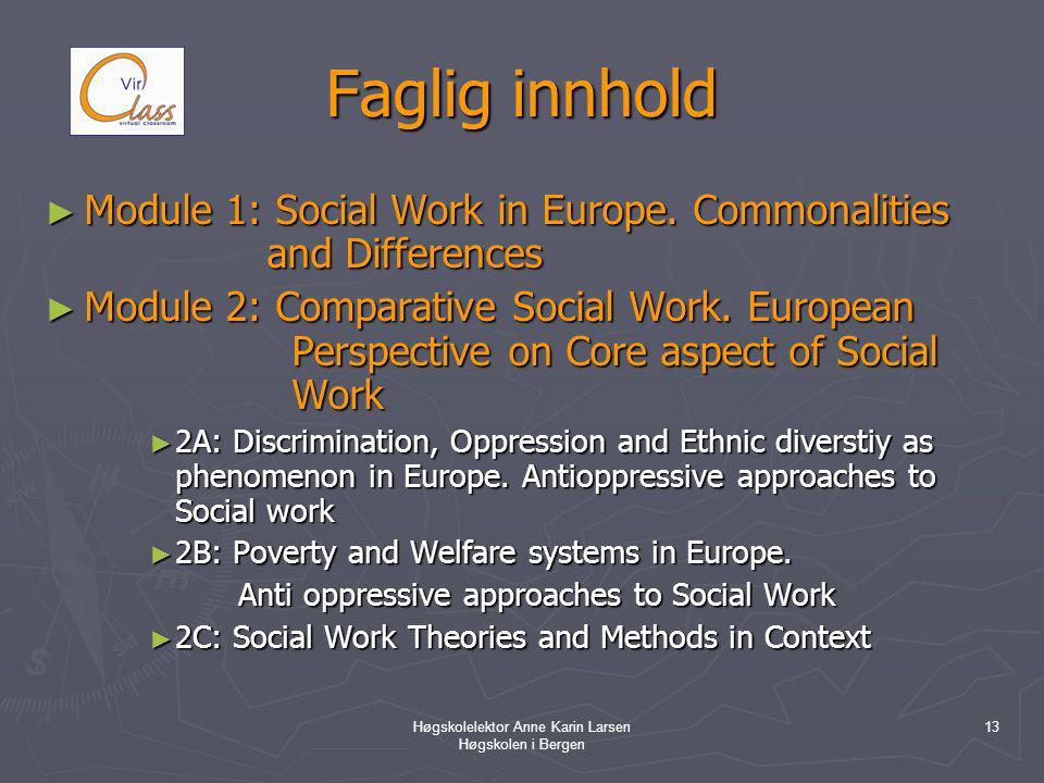 Høgskolelektor Anne Karin Larsen Høgskolen i Bergen 13 Faglig innhold ► Module 1: Social Work in Europe.