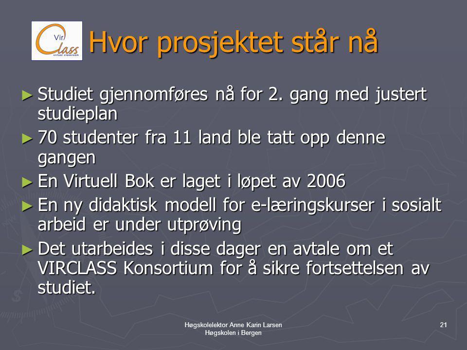 Høgskolelektor Anne Karin Larsen Høgskolen i Bergen 21 Hvor prosjektet står nå ► Studiet gjennomføres nå for 2.