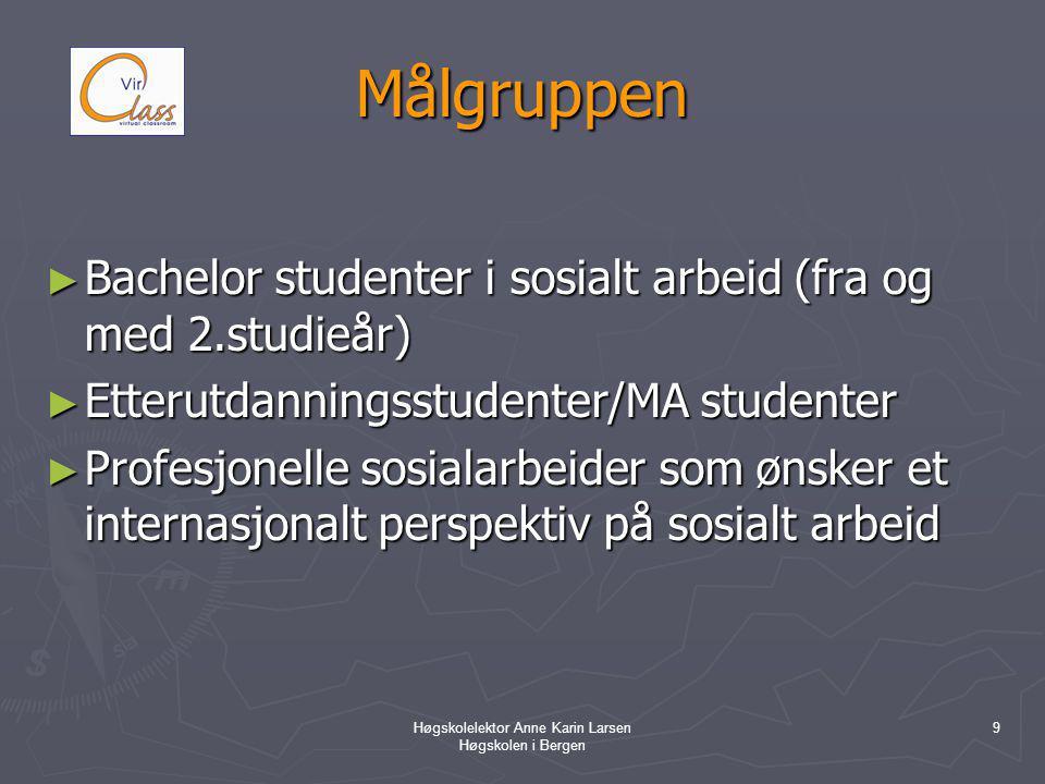 Høgskolelektor Anne Karin Larsen Høgskolen i Bergen 9 Målgruppen ► Bachelor studenter i sosialt arbeid (fra og med 2.studieår) ► Etterutdanningsstudenter/MA studenter ► Profesjonelle sosialarbeider som ønsker et internasjonalt perspektiv på sosialt arbeid