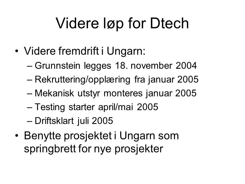Videre løp for Dtech Videre fremdrift i Ungarn: –Grunnstein legges 18.