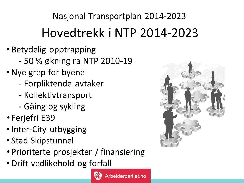 Nasjonal Transportplan 2014-2023 Hovedtrekk i NTP 2014-2023 Betydelig opptrapping - 50 % økning ra NTP 2010-19 Nye grep for byene - Forpliktende avtaker - Kollektivtransport - Gåing og sykling Ferjefri E39 Inter-City utbygging Stad Skipstunnel Prioriterte prosjekter / finansiering Drift vedlikehold og forfall
