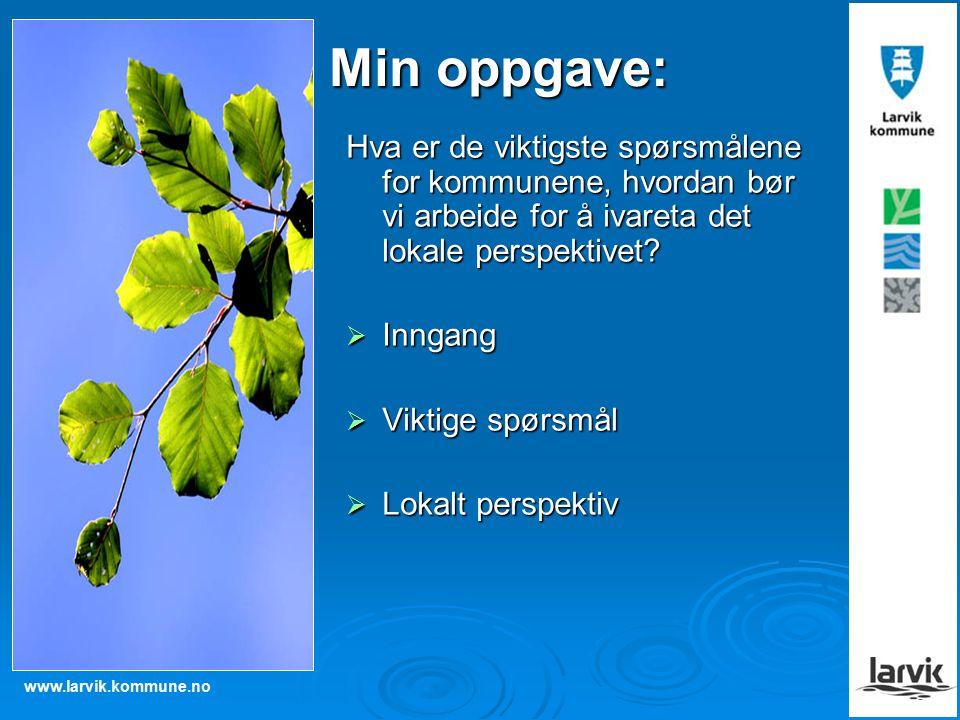 www.larvik.kommune.no Min oppgave: Hva er de viktigste spørsmålene for kommunene, hvordan bør vi arbeide for å ivareta det lokale perspektivet.