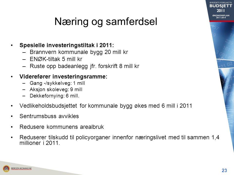 Næring og samferdsel Spesielle investeringstiltak i 2011: –Brannvern kommunale bygg 20 mill kr –ENØK-tiltak 5 mill kr –Ruste opp badeanlegg jfr.