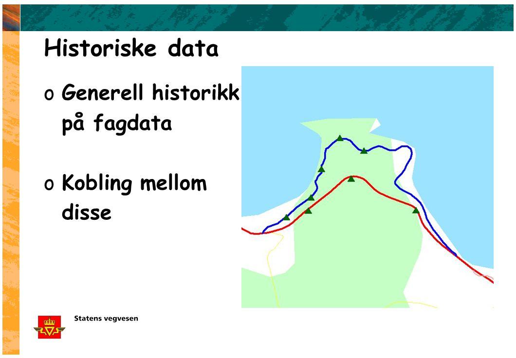 Historiske data oGenerell historikk på fagdata oKobling mellom disse