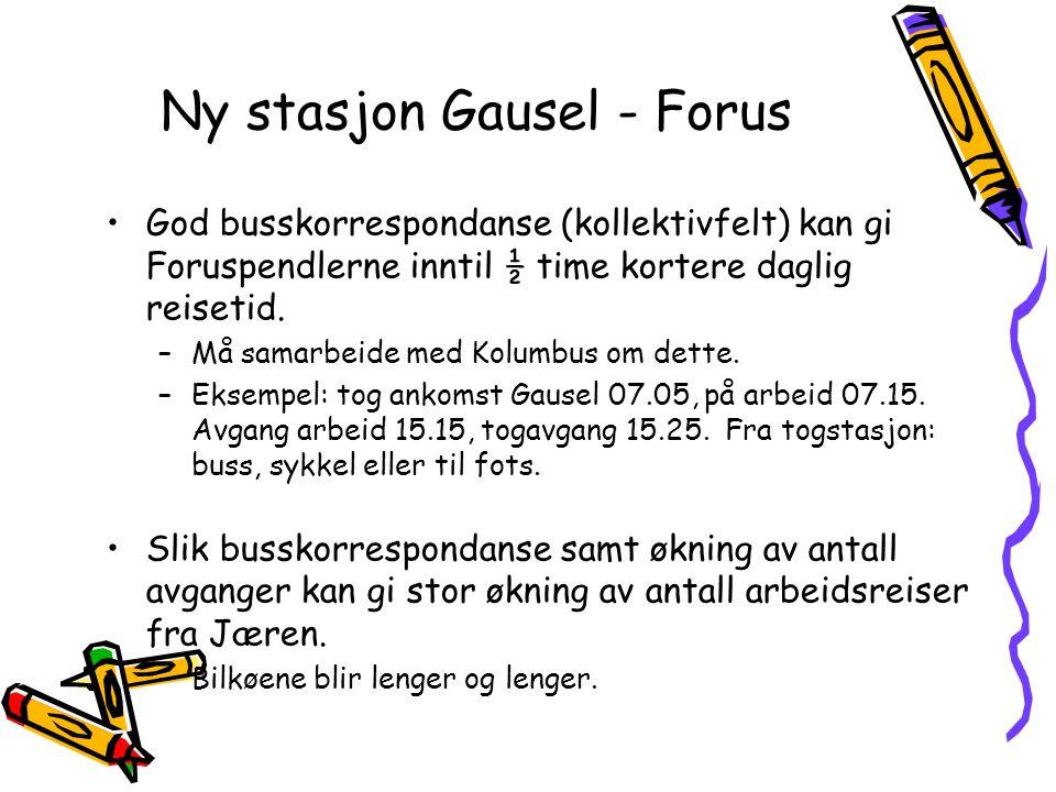 Ny stasjon Gausel - Forus God busskorrespondanse (kollektivfelt) kan gi Foruspendlerne inntil ½ time kortere daglig reisetid. –Må samarbeide med Kolum